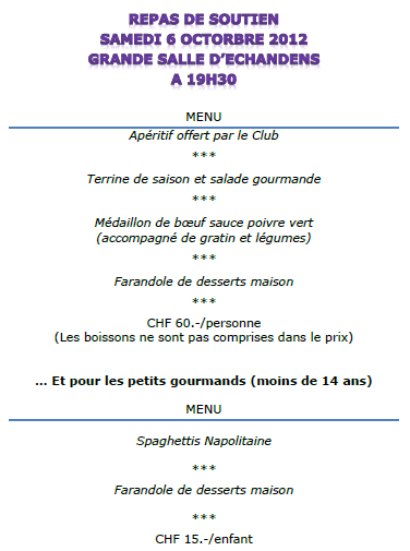 News tennis club la venoge for Menu repas entre amis